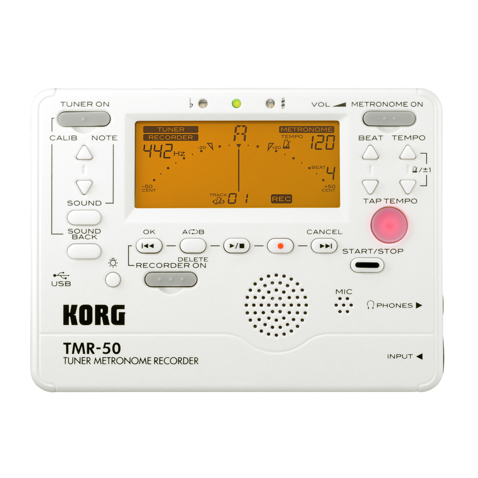 Korg TMR 50  Tuner/Metronome/Recorder Pearl White For Guitar