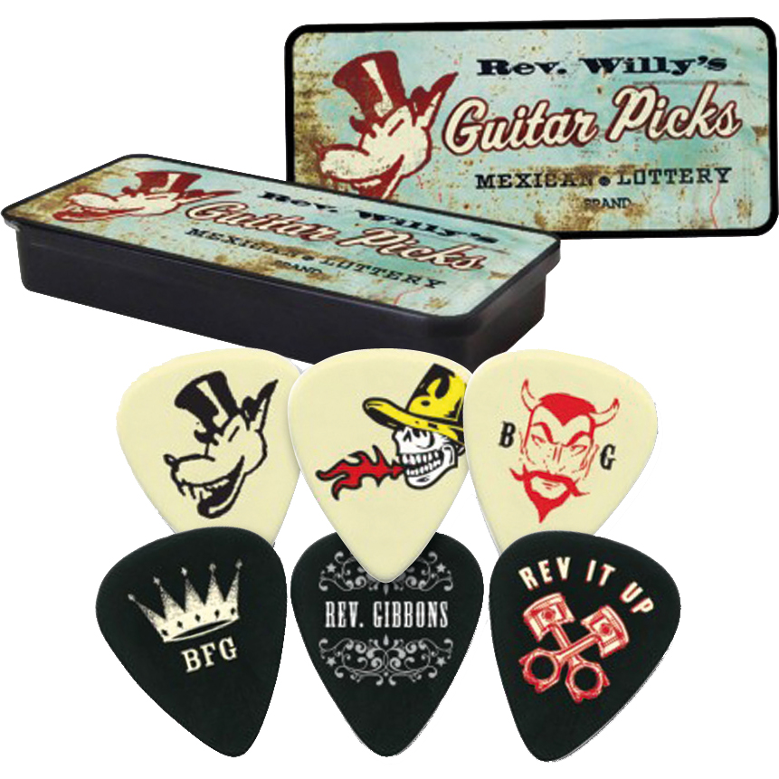 Dunlop Rev Willy's Mexican Lottery Pick Tin 6 Plectrums Medium