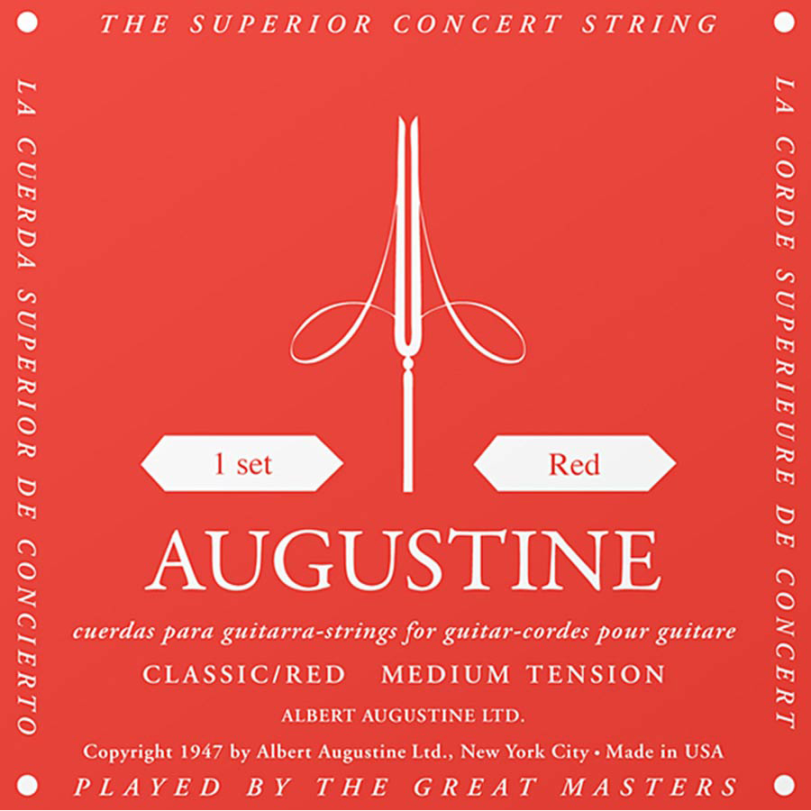 Augustine Classic Red Classical Guitar Strings Medium Tension