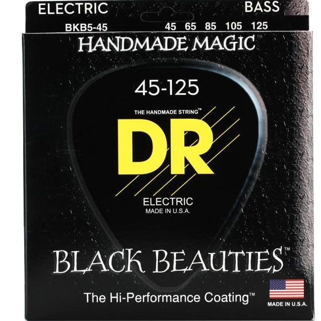DR BKB5-45 Black Beauties Coated 5 Sting Bass Strings