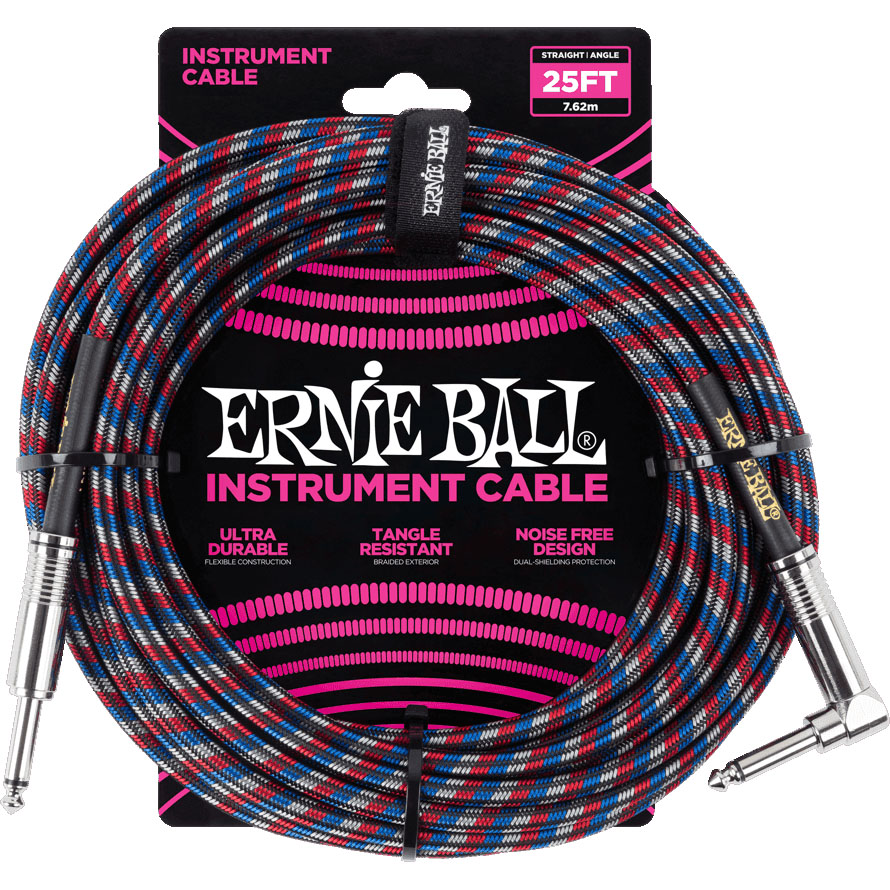 Ernie Ball 6063 Braided Instrument Cable 7.5M Black/Red/Blue/Whi