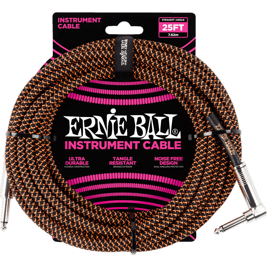 Ernie Ball 6064 Braided Instrument Cable 7.5M Black/Orange