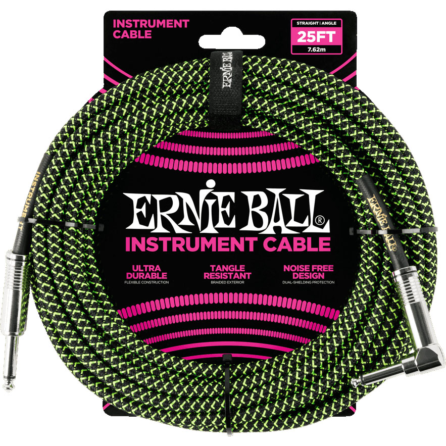 Ernie Ball 6066 Braided Instrument Cable 7.5M Black/Green