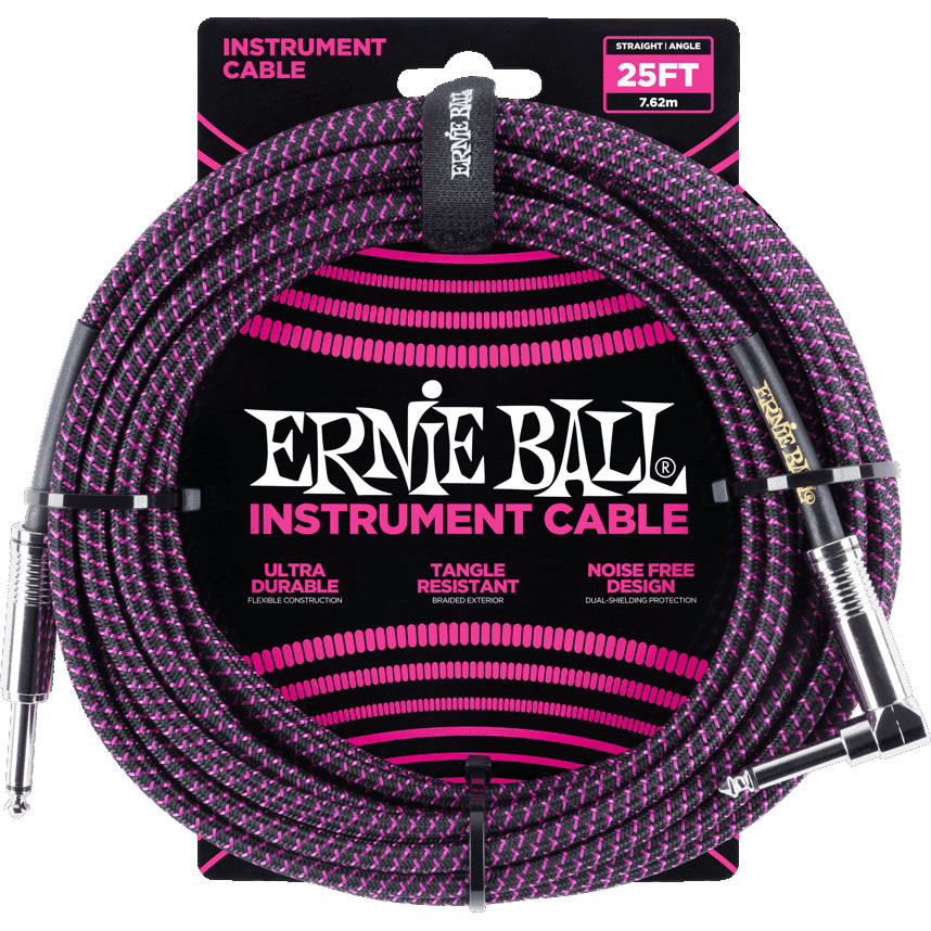 Ernie Ball 6068 Braided Instrument Cable 7.5M Black/Purple