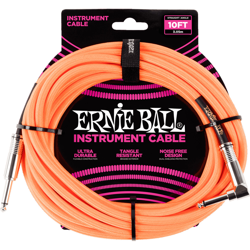 Ernie Ball 6079 Braided Instrument Cable 3M Neon Orange