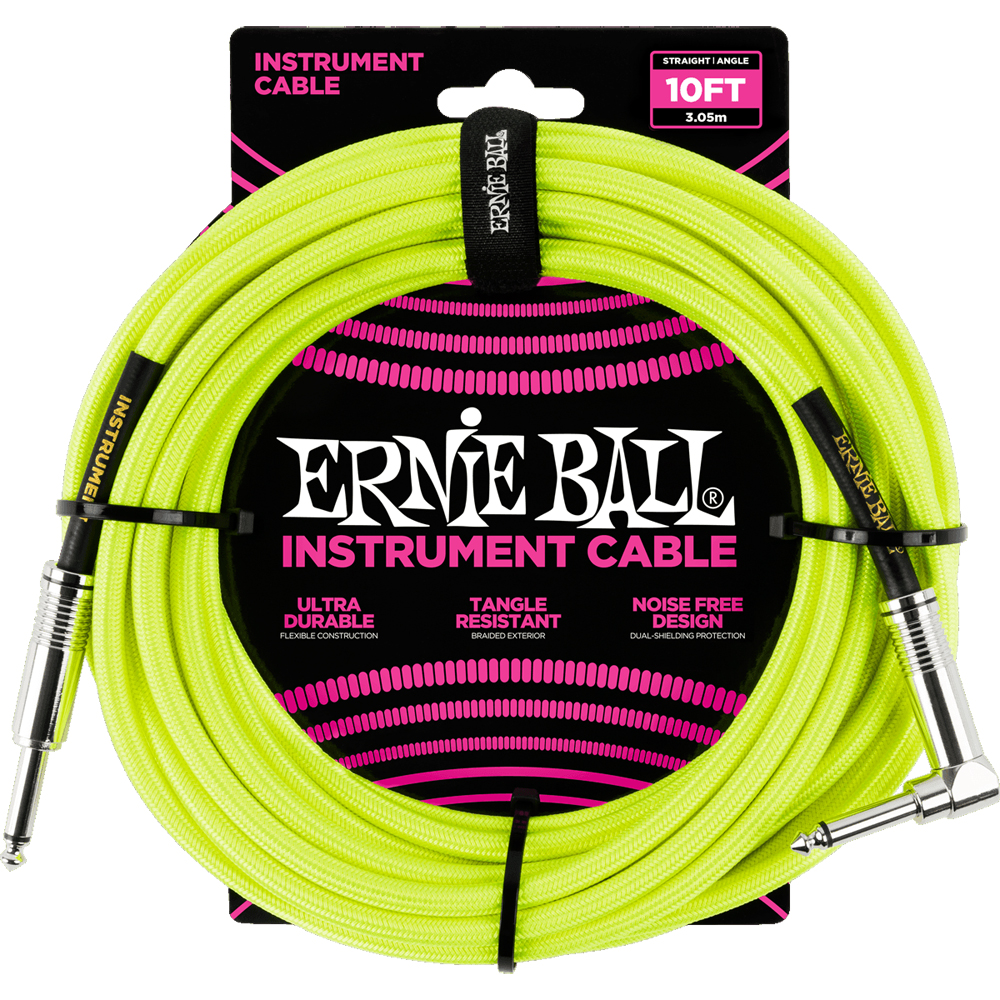 Ernie Ball 6080 Braided Instrument Cable 3M Neon Yellow