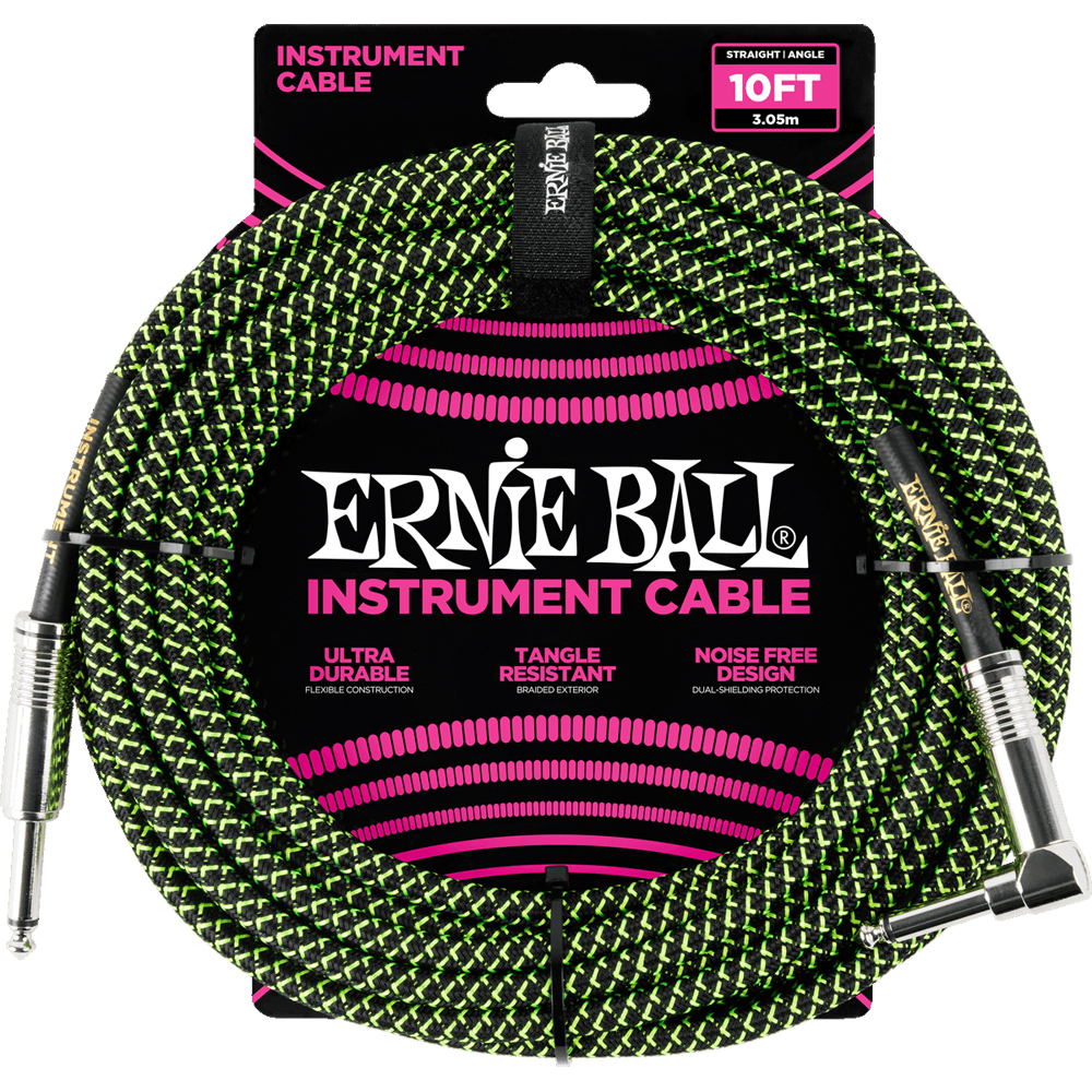 Ernie Ball 6077 Braided Instrument Cable 3M Black/Green