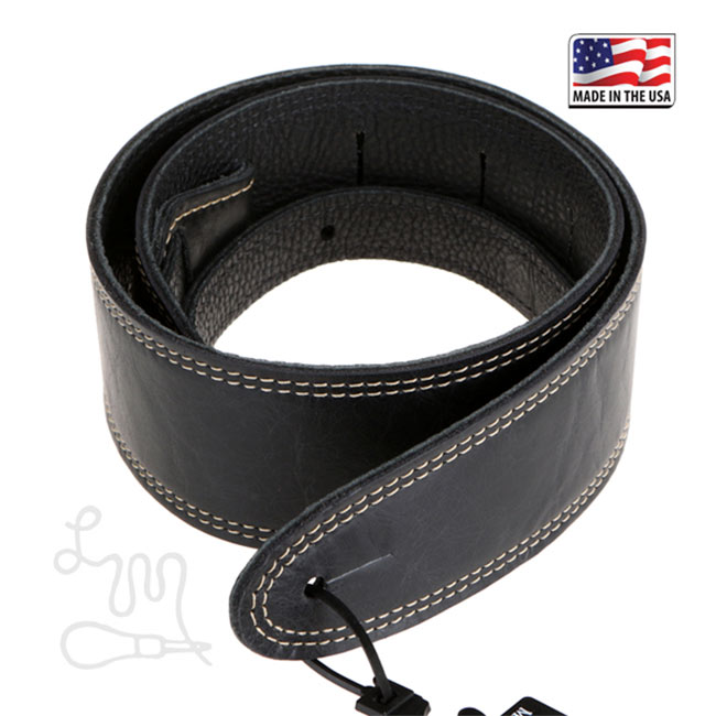 "LM-GP25BK Element Leather 2.5"" Black Gitaarband"