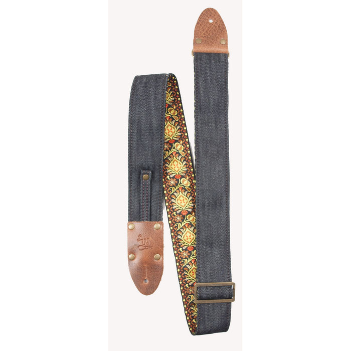 LM-VDNO Vintage Denim Navy Orange Jacquard Guitar Strap