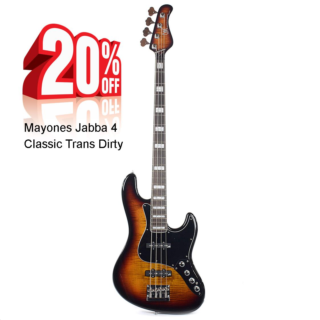 Mayones Jabba 4 Classic Trans Dirty Sunburst Gloss Basgitaar